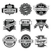Assorted designs vector black and white vintage badges  2.