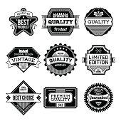 Assorted designs vector black and white vintage badges  5.