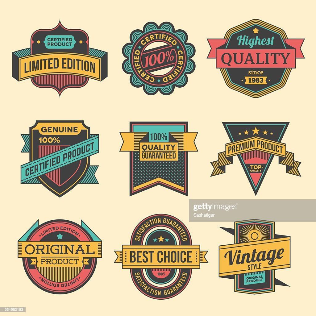 Assorted designs vector colorful vintage badges and labels set 2.