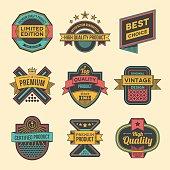 Assorted designs vector colorful vintage badges and labels set 3.