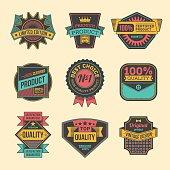 Assorted designs vector colorful vintage badges and labels set 4.