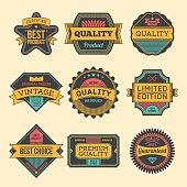 Assorted designs vector colorful vintage badges and labels set 5.