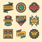 Assorted designs vector colorful vintage badges and labels set 6.