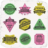 Assorted designs vector two colors vintage badges 1.