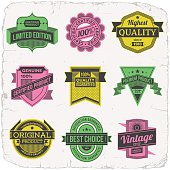 Assorted designs vector two colors vintage badges 2.