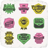 Assorted designs vector two colors vintage badges 4.