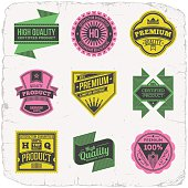 Assorted designs vector two colors vintage badges 6.