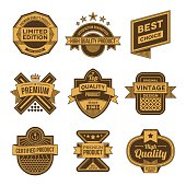 Assorted designs vector two colors vintage badges and labels 3.