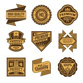 Assorted designs vector two colors vintage badges and labels 6.