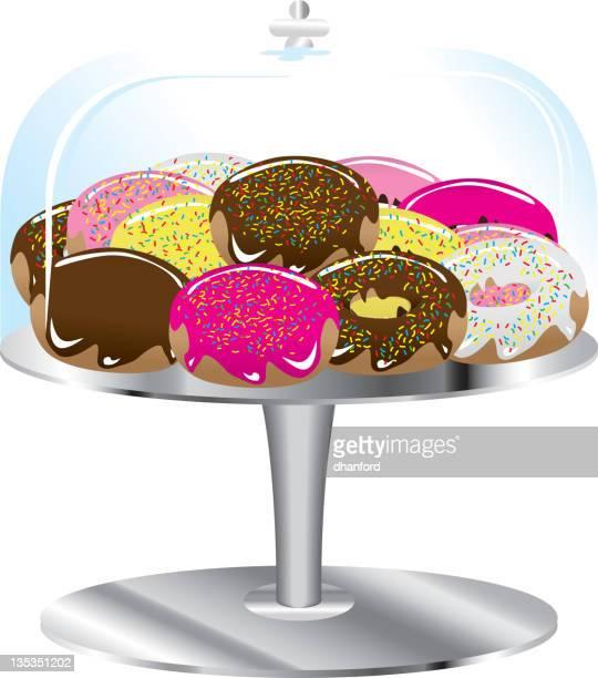 ilustrações, clipart, desenhos animados e ícones de donuts variados em pé e cobertura de vidro - glazed food