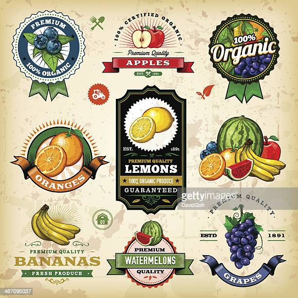 assorted fruit labels - apple fruit stock illustrations