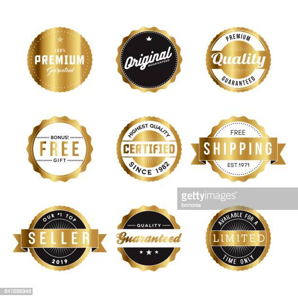 assorted golden retro product marketing labels icon set - free of charge stock illustrations