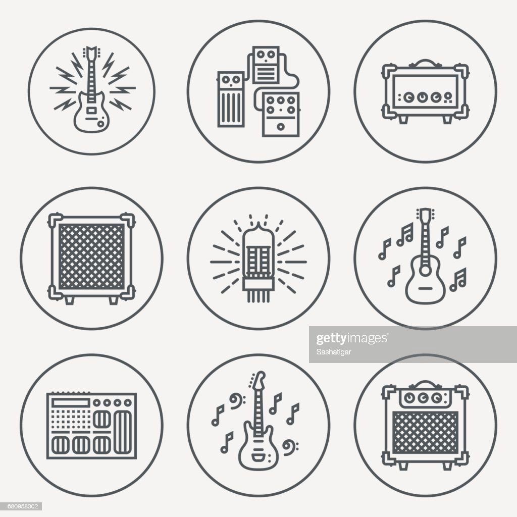 Assorted Guitar Stuff. Line Design Circle Icon Set. Vector Illustrations.