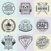 Assorted Hand Craft Insignias Logotypes Template Set.