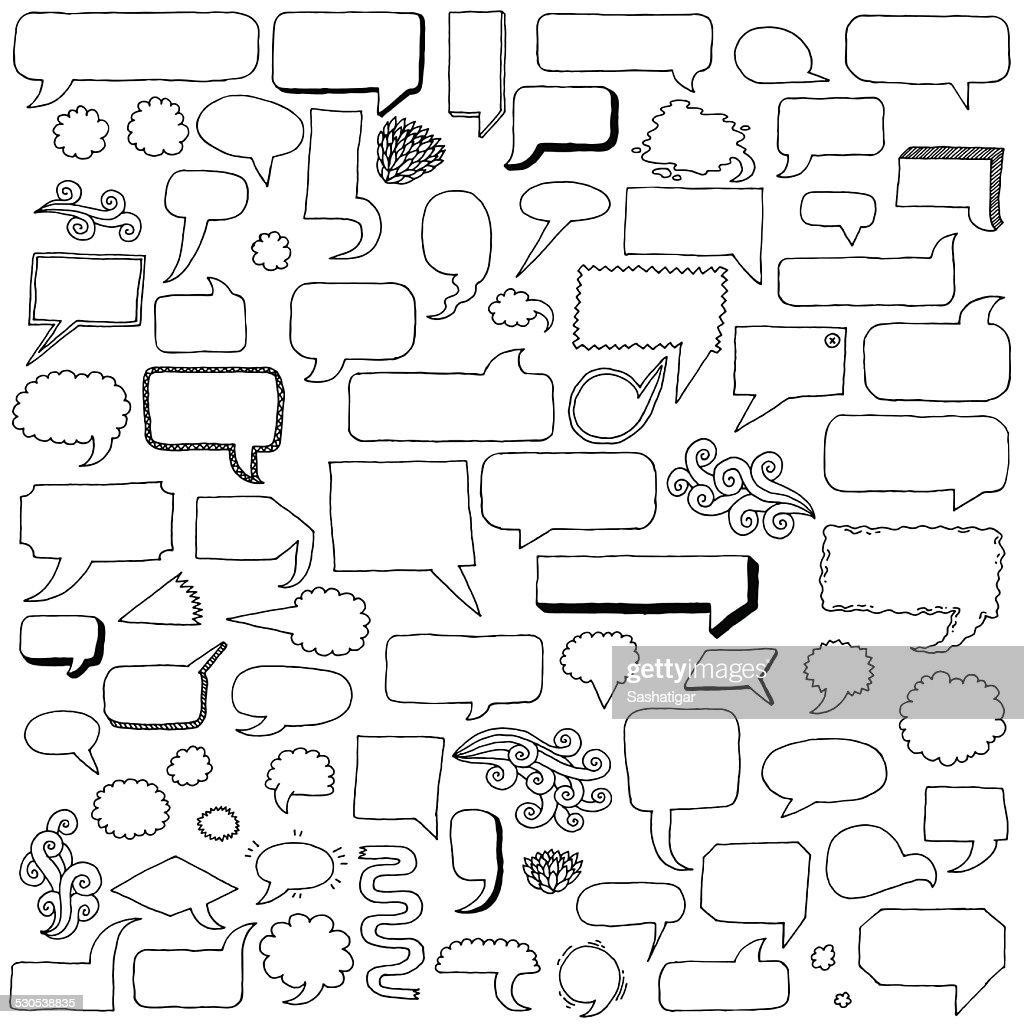 Assorted hand drawn doodle speech bubbles vector set.
