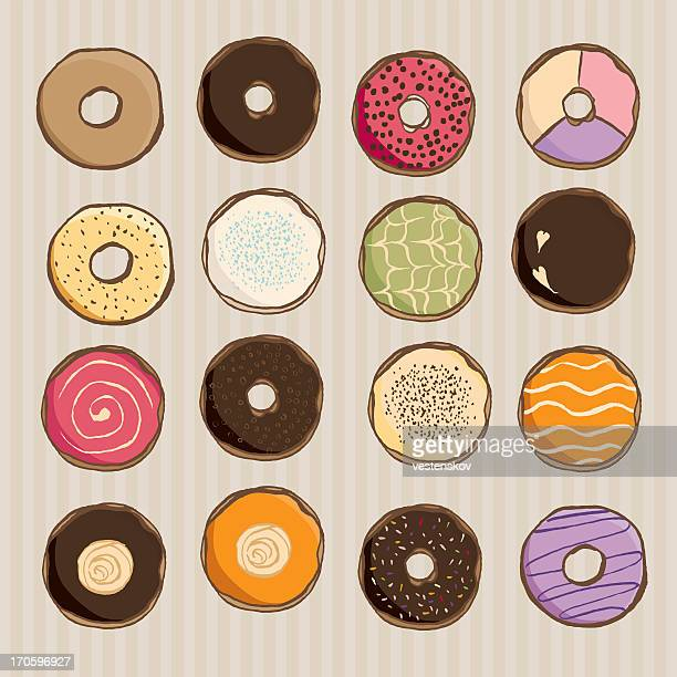 assorted hand sketch donut - donut stock illustrations, clip art, cartoons, & icons
