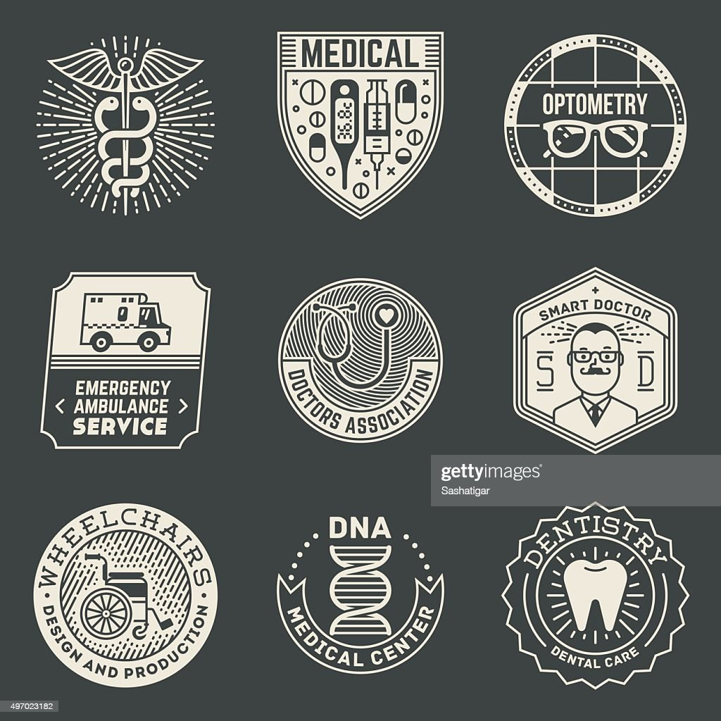 Assorted Medical Insignias Logotypes Template Set On Dark.