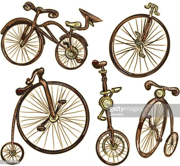 assorted old fashioned bicycles isolated on white - unicycle stock illustrations, clip art, cartoons, & icons