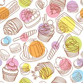 Assorted outlined colorful desserts. Seamless vector pattern with polka dots.