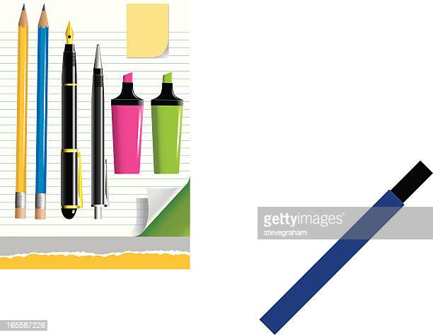 assorted pens, pencils and note paper - ballpoint pen stock illustrations, clip art, cartoons, & icons