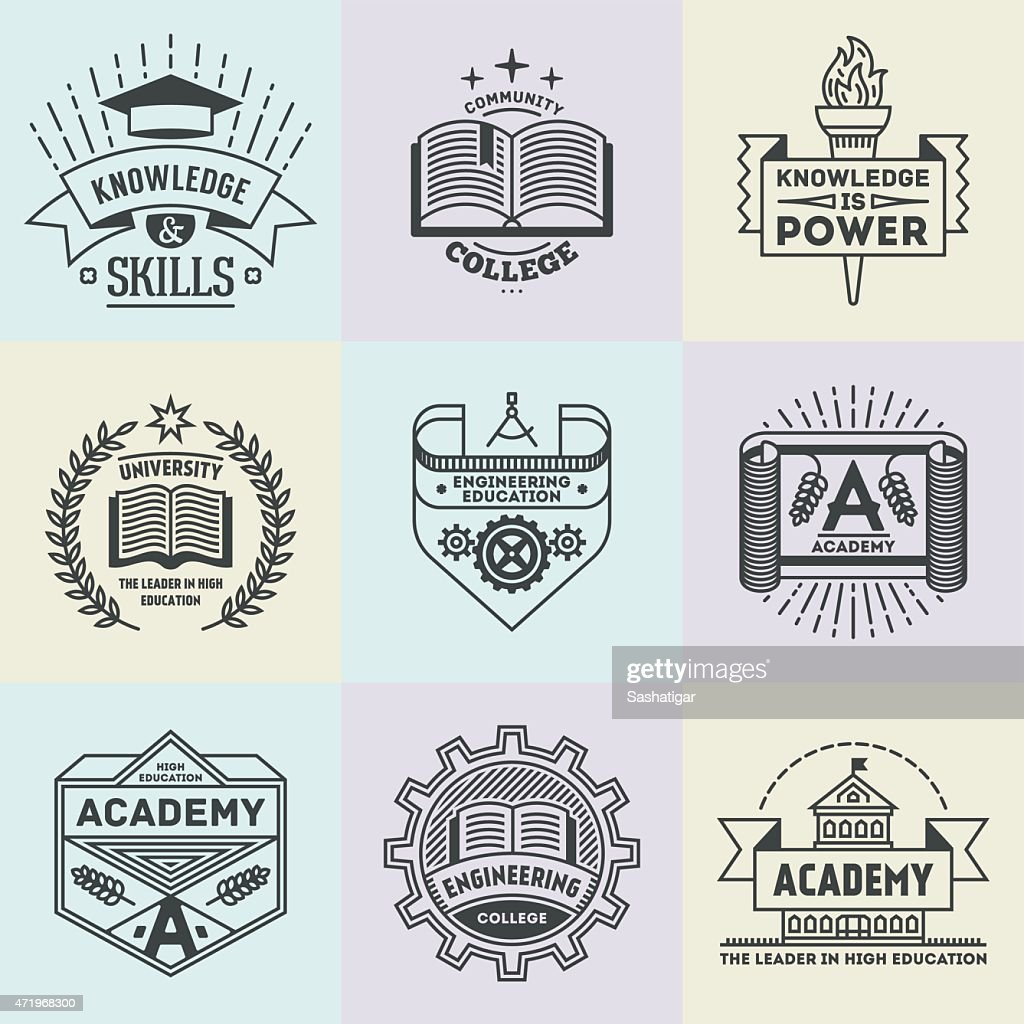 Assorted retro design insignias high education logotypes set 2.