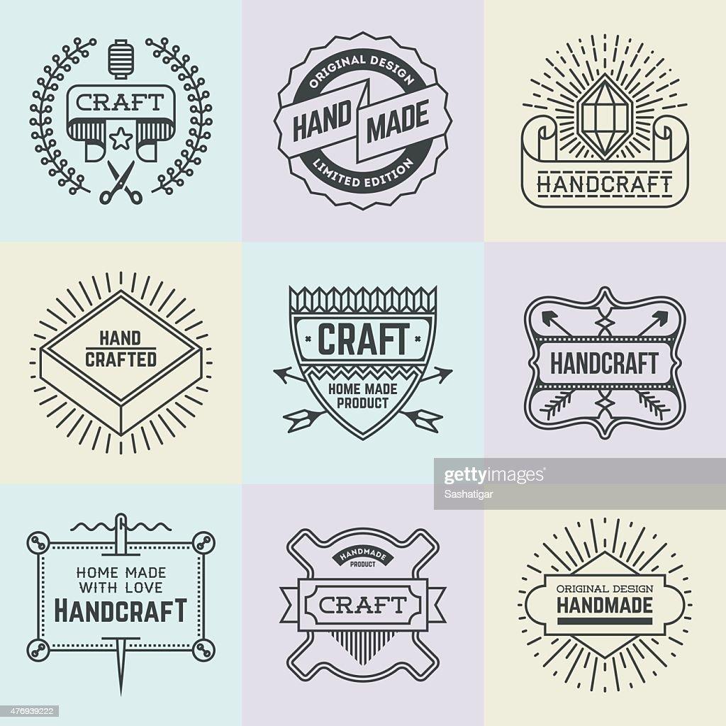 Assorted retro design insignias logotypes set 15. Vector vintage elements.
