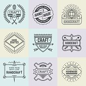 Assorted retro design insignias logotypes set 15. Vector vintage elements.