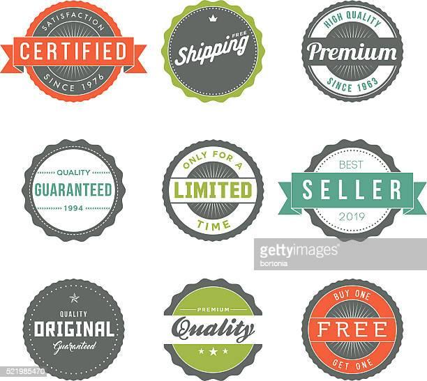 Assortiment de rétro étiquettes ensemble de icône De marketing produit