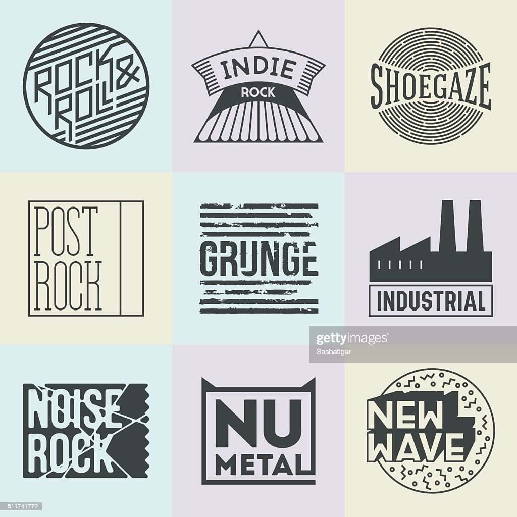 Assorted Rock Music Styles Genres Logotypes Set 2.