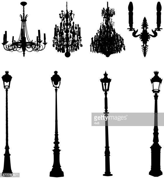 Variados farolas y los chandeliers