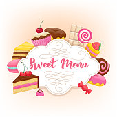 Assorted sweets colorful background. Sweet menu design