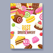 Assorted sweets colorful background