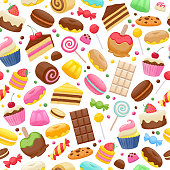 Assorted sweets colorful seamless background