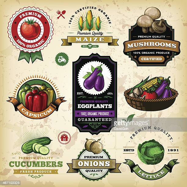 assorted vegetable labels - cucumber stock illustrations, clip art, cartoons, & icons