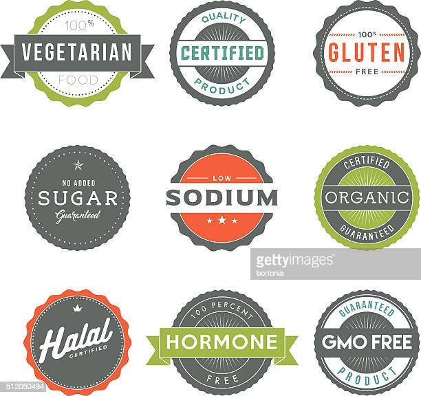 assorted vintage food information labels icon set - genetic modification stock illustrations, clip art, cartoons, & icons