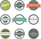 Assorted Vintage Food Information Labels Icon Set