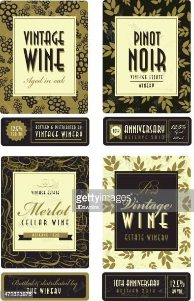 Assorted vintage wine bottle labels