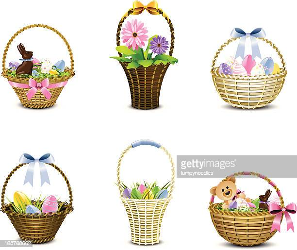assorted woven easter baskets in various pastels - easter basket stock illustrations