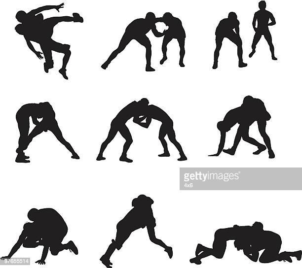 assorted wrestling people - professional wrestling stock illustrations