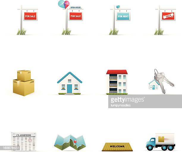 Assortment of 12 colorful real estate icons