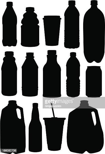 stockillustraties, clipart, cartoons en iconen met assortment of black drinking containers - food and drink