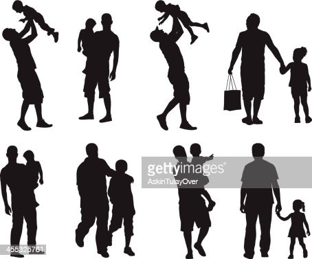 assortment of silhouette images of father and children vector art getty images