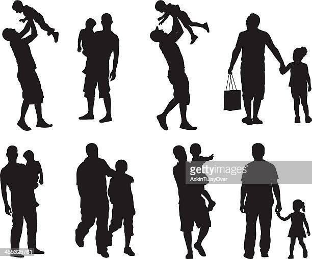 assortment of silhouette images of father and children - parent stock illustrations