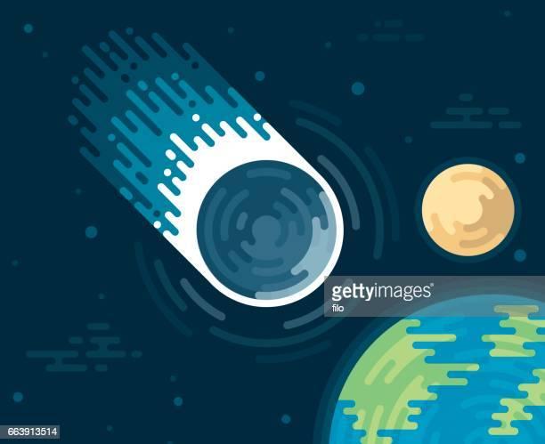 ilustraciones, imágenes clip art, dibujos animados e iconos de stock de asteroide o cometa espacial - cometa espacio