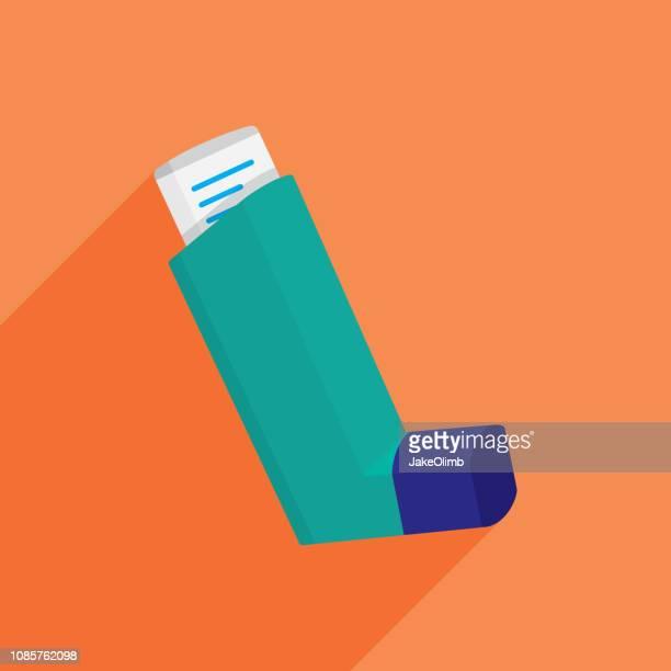 asthma inhaler icon flat - inhaling stock illustrations