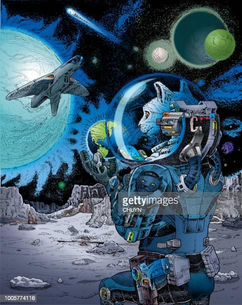 astrocat - astronaut stock illustrations, clip art, cartoons, & icons