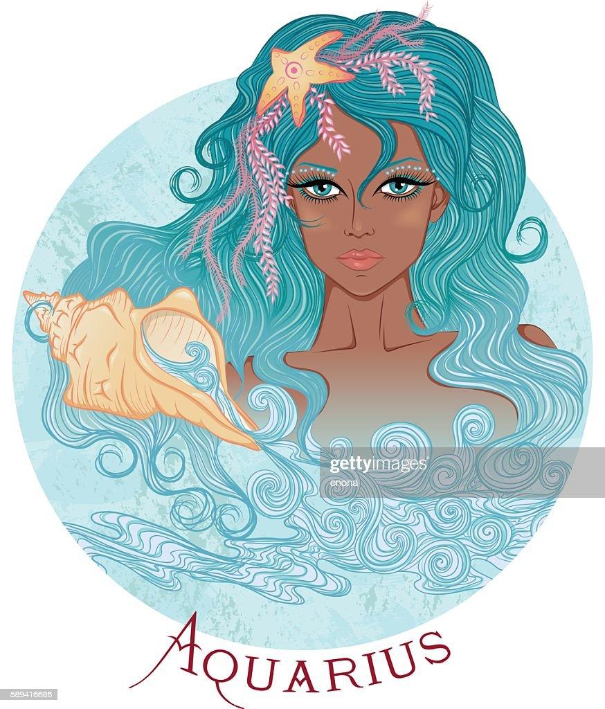 Astrological sign of Aquarius as a beautiful african girl