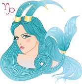 Astrological sign of Capricorn as a beautiful girl