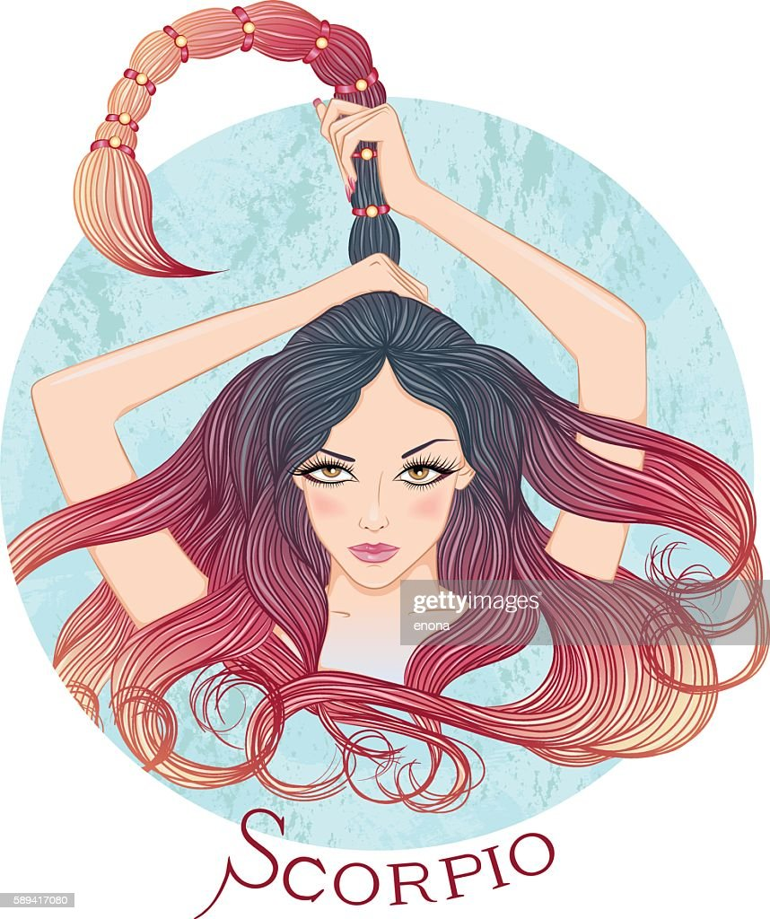 Astrological sign of Scorpio as a beautiful girl