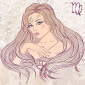 Astrological sign of Virgo as a portrait of beautiful girl